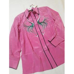 Camisa Mujer Bordada Art Bob Mackie 100% Seda Rosa Fucsia