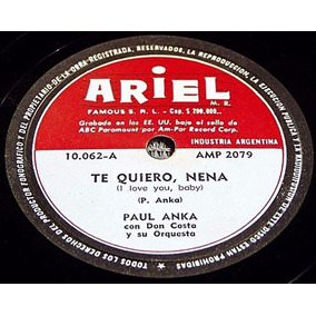 Paul Anka I Love You Baby Raro 78rpm Argentina Como Nuevo