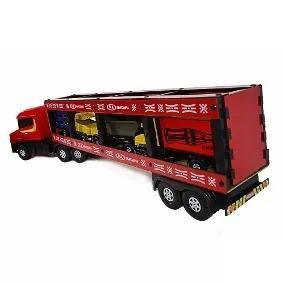Caminhão Brinquedo Bitrem Cegonha De Madeira Trans Carros