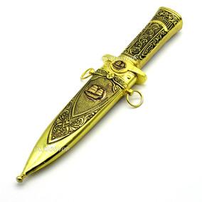 Faca Adaga Punhal Ritual Cabo E Bainha Em Metal Dourado