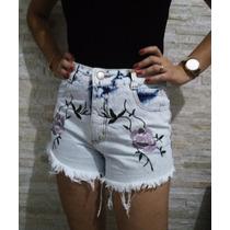 Shorts Bordado Flor Hot Pants Cós Alto Jeans Lady Rock