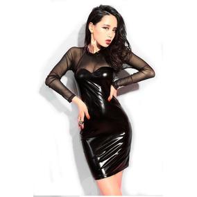 Sexy Mini Vestido Corto Wet Look Gotico Metalico Moderno
