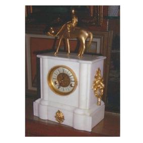 Reloj Francés Luis Xv Mármol Carrara Y Bronce