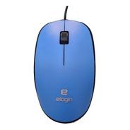 Mouse Elogin Azul C/ Fio - Sensor Óptico 1000dpi