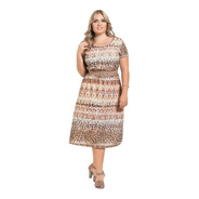 Vestido Moda Evangélica Plus Size Midi Feminino Estampado