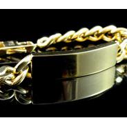 Pulseira Grumet Com Placa Em Ouro 18k 750 Modelo Bracelete