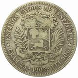 Moneda Venezuela 5 Bolívares, Fuerte De 1902 - Fecha Ancha