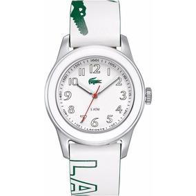 Relogio Lacoste Original Branco Advantag Feminino Logo Verde