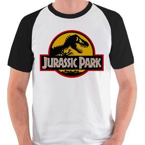 Camiseta Jurassic Park Logo T. Rex Dino Camisa Blusa Raglan