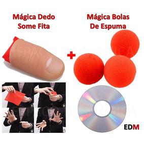 Kit Mágicas Dedo Falso Fita Some + Bolas De Espuma + Dvd