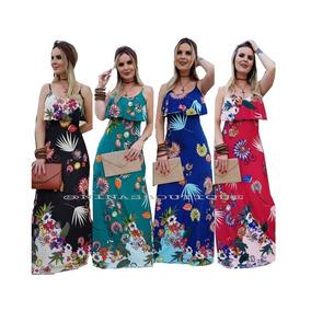 Vestido Floral Longo Tecido Viscolycra