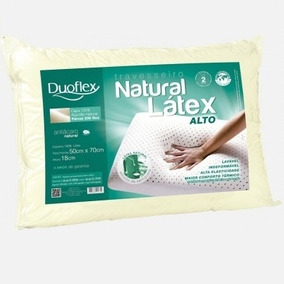 Travesseiro Natural Látex Alto Duoflex 100% Látex 50x70x18cm
