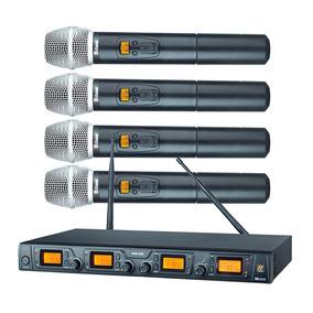 Microfones Sem Fio Quadruplo Mão Staner Srw48q Profissional