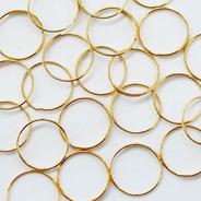 100 Argolas Aço Dourada 14mm Montagem De Lustres E Bijuteria