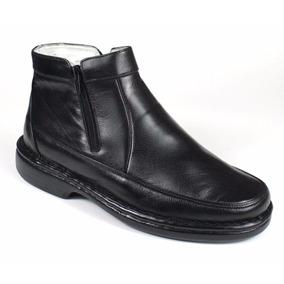 Bota Confortável Masculina Preta Couro Carneiro Franca Shoes