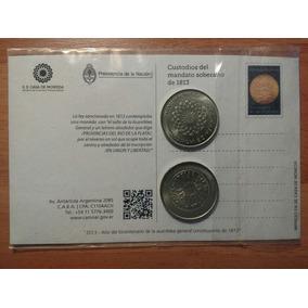 Tarjeta Postal + 2 Medallas Primera Moneda Patria 1813 -2013