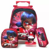 Kit Mochila Tam G Ladybug Joaninha Lisa Infantil Rodinhas F3