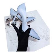 Scarpin Sapato Azul Salto Alto