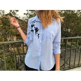 Camisa Blusa Rayada Bordada Floreada Flores Azules