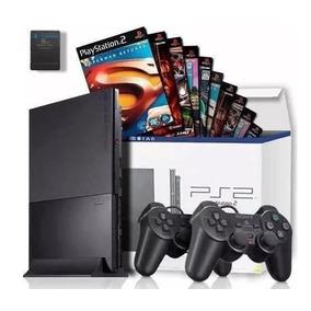 Console Playstation 2 + Memory Card + 2 Controles + Brinde