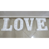 04 Letra Branca Luminosa Led 3d Pilha Mesa Parede L O V E