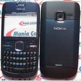 Carcaça Nokia C3 Azul + Teclado Br Ç + Chassi Completa