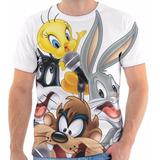 Camiseta Looney Tunes Pernalonga, Taz, Piu-piu Estampada.