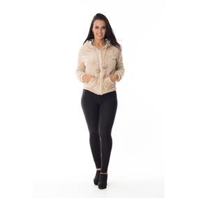 Blusa Agasalho Feminino Pelucia Macia Capuz Pelinhos Ziper