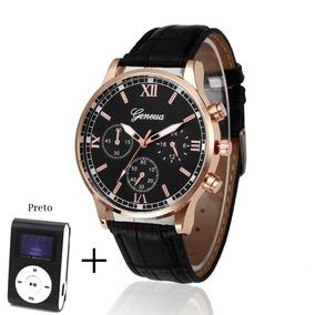 Relógio Masculino Geneva Quartzo Pulseira Couro + Mp3