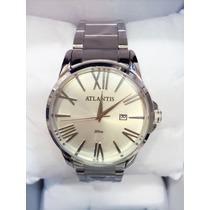 Relógio Masculino Original Atlantis Prateado Com Calendário