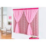 Cortina Estampada Menina Rosa 2,00m Voil Tecido Floral