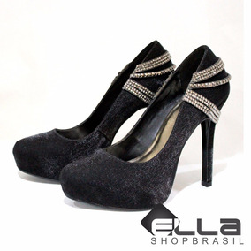 Sapato Feminino Scarpin Meia Pata Festa Social Lindo Strass