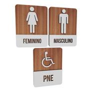 Trio Placas Sinalizadoras Para Restaurante Banheiro Pne