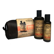 Kit Para Barba Com Necessaire Exclusiva + Shampoo 200ml Limpa E Perfuma + Condicionador 120ml Hidrata - Terra - Viking