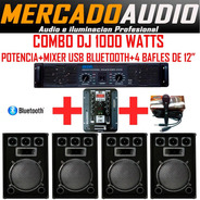 Combo Dj 1000 Watts Potencia+mixer Usb+bluetooth+4 Bafles 12
