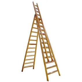 Escalera Pintor Extensible De Madera - 15 Peldaños - Scala