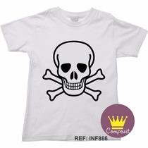 Camiseta Infantil Halloween Caveira Cranio Sancro 05