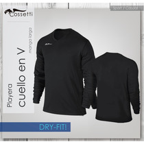 Playera Cuello En V Manga Larga En Tela Original Dry-fit!!