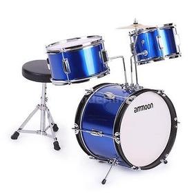 Drum Set 3pcs Niños Completados Conjunto Azul De Tamaño...