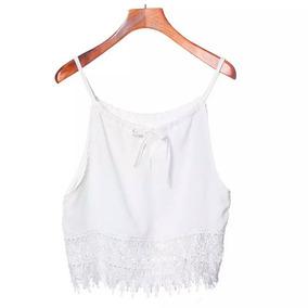 Blusa Cropped Feminina Com Renda - Promoção