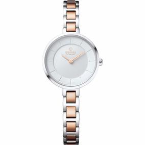 Reloj Obaku V183lxcisc Plateado/oro Rosa Original Para Dama*