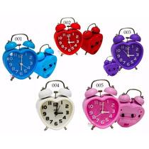 Relógio Despertador Analógico Vintage Retrô Coração Rosa