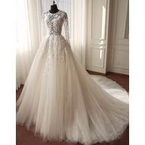 Vestido Noiva Princesa Transparente Rend Casamento Importado