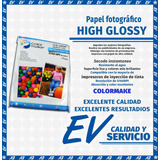 Papel Fotográfico High Glossy Tamaño Carta (1 Paq) Colormake