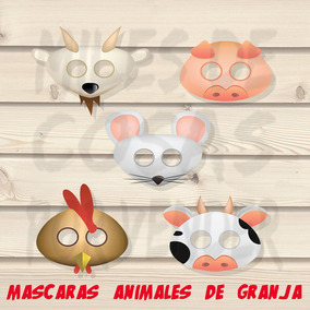 50 Mascaras Antifaces Animales De Granjas Cerdo Gallo Chivo