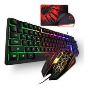 Kit Teclado Gamer Semi Mecânico Mouse Led Luminoso Mouse Pad
