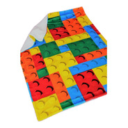Cobertor Con Borrega Infantil 1.00x1.30 Modelo Bloques