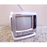 Mini Tv Televisor Radio Portátil Silver Crown Nuevo Gris