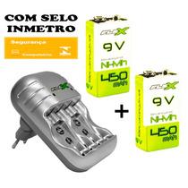 Kit Carregador Pilha Aaa Aa 9v + 2 Bateria Flex Recarregavel