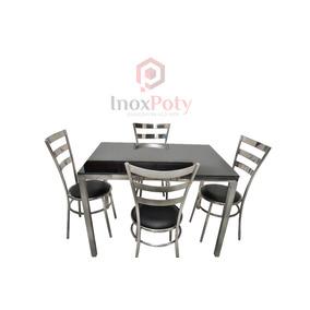 Conjunto De Sala De Jantar Mesa E 4 Cadeiras (inox, 304)